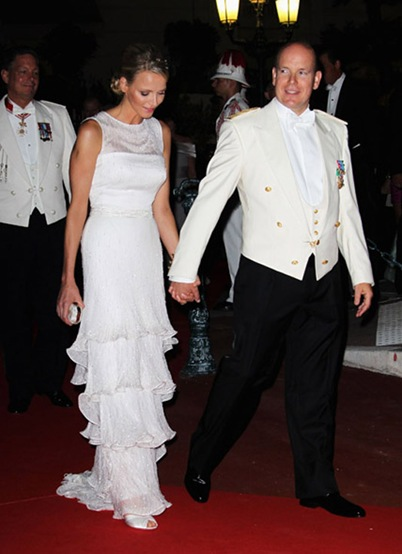 attend the official dinner and firework celebrations  at the Opera Terraces after the religious ceremony for the Royal Wedding of Prince Albert II of Monaco and Princess Charlene of Monaco on July 2, 2011 in Monaco.