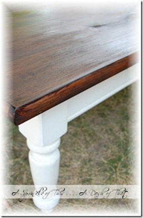 Coffee Table Makeover with Stained Top and White Painted Legs {A Sprinkle of This . . . . A Dash of That}
