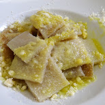 Testaroli - world's oldest pasta from Tuscany in Milan, Milano, Italy
