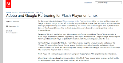 Adobe and Google Partnering for Flash Player on Linux