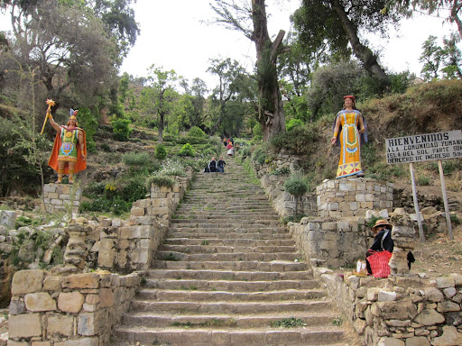 The original Inca steps leading to the village of Yumani.
