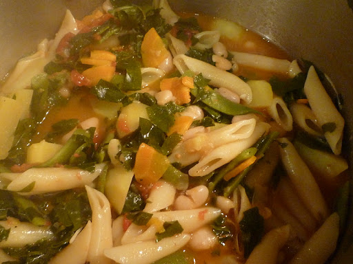 A big pot of Minestrone Pasta.