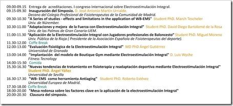 Programa 1º Simposio Internacional sobre Electroestimulación Integral