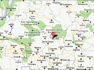 Le point rouge, le territoire de Lodja dans la province du Kasai-Oriental en RDC.