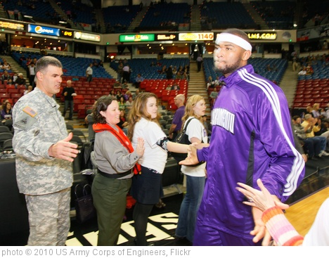 'USACE Sacramento District Comander greets Kings player DeMarcus Cousins' photo (c) 2010, US Army Corps of Engineers - license: http://creativecommons.org/licenses/by/2.0/