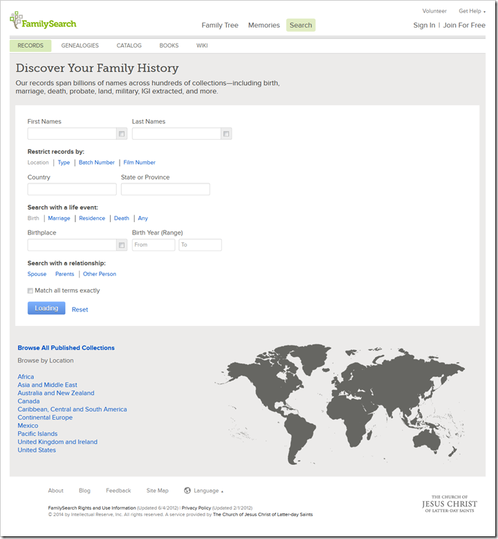 The FamilySearch historical records search page earlier this year