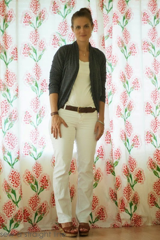 julia cardigan and white jalie jeans straight leg sew a straight line-3