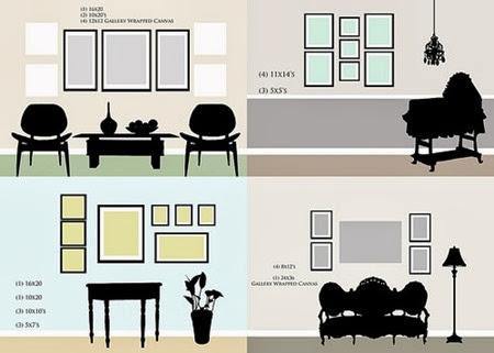 Room Vignettes with various Gallery wall layouts