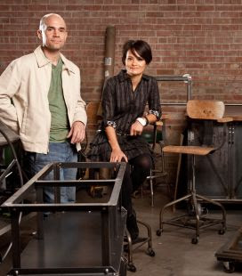 1104111152km furnituredesigners1203 -- PHOENIX, AZ -- 11/10/2011 -- Greg and Sim Hankerson pose for a portrait at Vintage Industrial Design in Phoenix, AZ on Thursday, November 10, 2011. Photo by Michael McNamara/The Republic