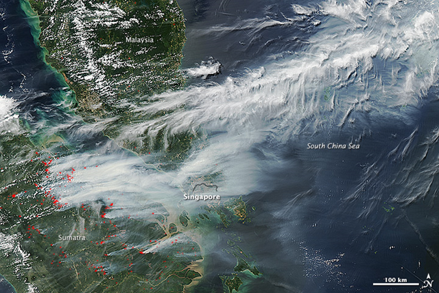 On the afternoon of 19 June 2013, NASA's Terra and Aqua satellites captured this striking image of smoke billowing from illegal wildfires on the Indonesian island of Sumatra. The smoke blew east toward southern Malaysia and Singapore, and news media reported that thick clouds of haze had descended on Singapore, pushing pollution to record levels. Farmers in Sumatra often burn forests during the dry season to prepare soil for new crops. Photo: Jeff Schmaltz / NASA