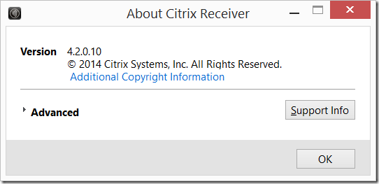 Citrix Receiver for Windows 4.2.0.10