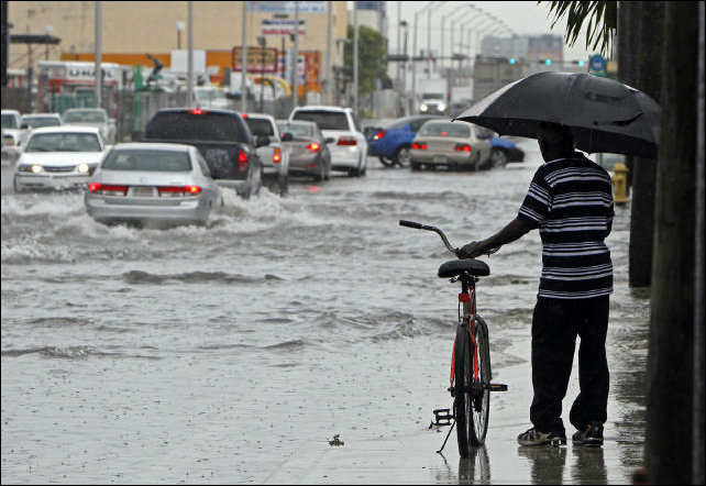 South Florida gets soaked with flooding on Northwest 36th Street in Miami on 17 July 2013, as a man decides whether to cross the street on his bike. He turned around. Photo: WALTER MICHOT / MIAMI HERALD STAFF