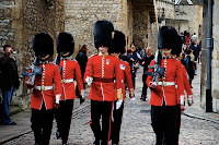 Guards walking in the Tower of London