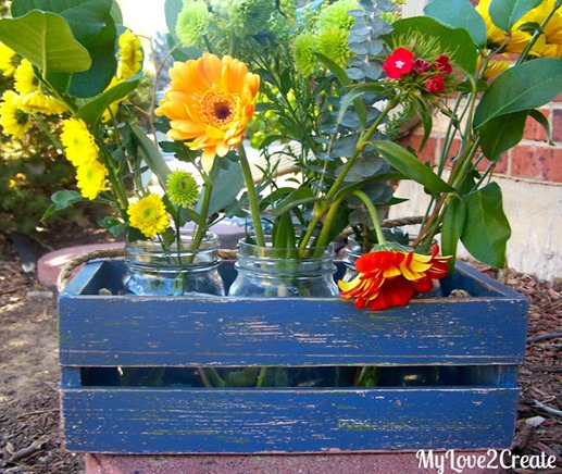 blue diy spring flower crate