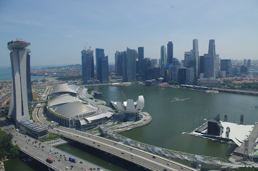 Overlooking Singapore's Marina Bay and Central Business District (CBD).