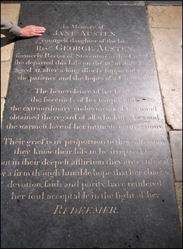 Jane Austen gravesite in Winchester Cathedral