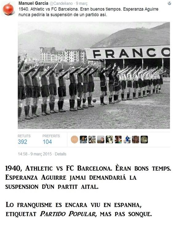 franquisme e interdiccion de partit de fótbol
