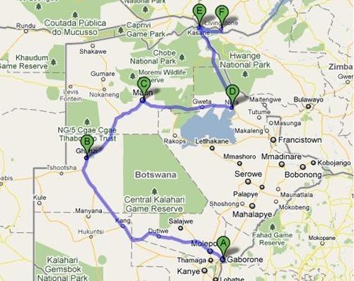 Botswana overland route