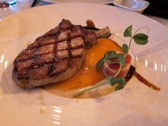 "Grilled chop of ""Acorn feed Iberico pork"" with chorizo and potato cream, figs vinegar caramel"
