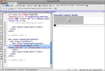 Codage du menu pour personnaliser un thème Wordpress avec Dreamweaver