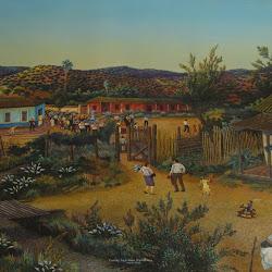Carlos Aceituno (chileno)-Procesión en callejones-68,5x 56,5-1997