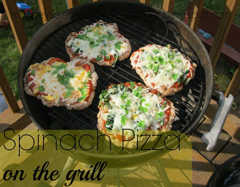 spinach pizza on grill