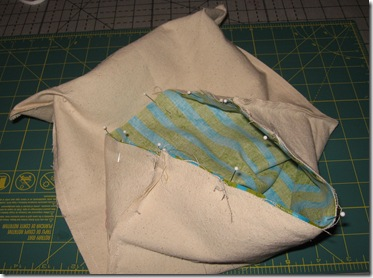 bag and lining ready to sew