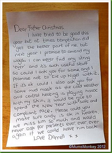 Darrell's Letter to Father Christmas Santa