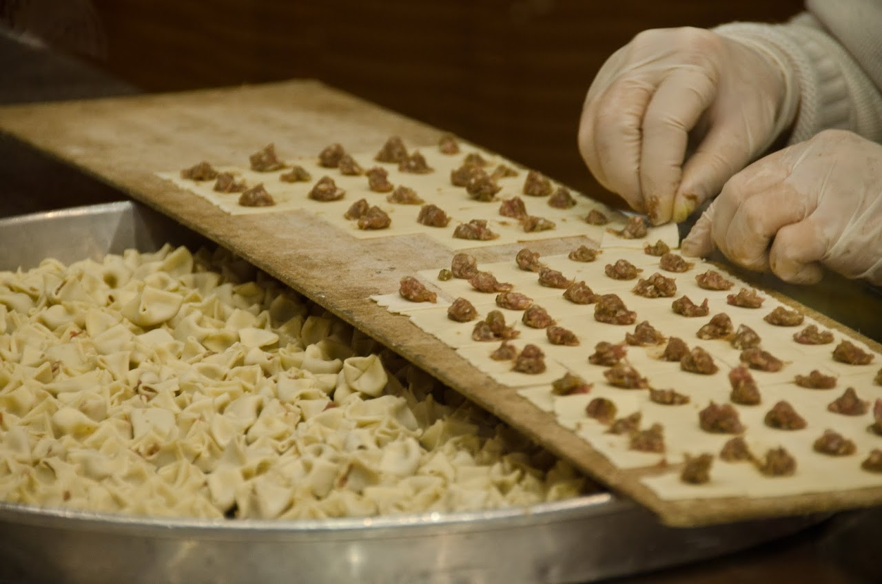 Making manti by hand