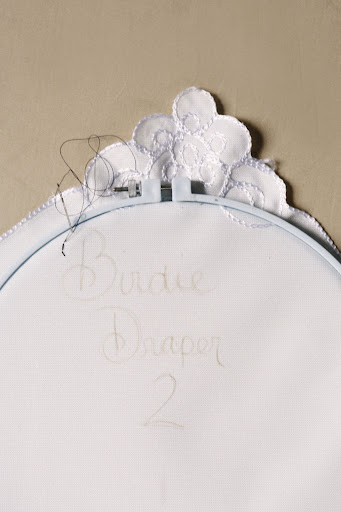 Step 2: Secure the napkin in an embroidery hoop to keep the fabric taunt.