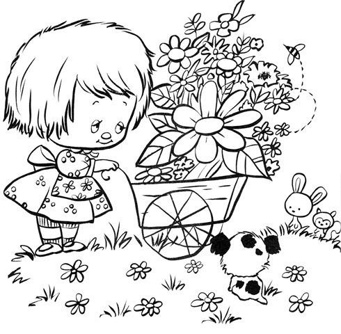 desenhos-para-colorir-menina-cachorrinho-flores