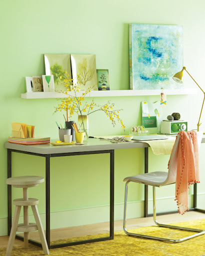 The minty walls make this office space zen-like. (Martha Stewart Living)