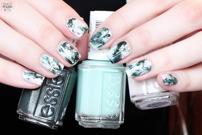 Dry-Marble-Nails-Saran-Wrap-Dark-Green-4