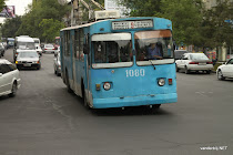 Old Russian bus in the streets of Bishkek, 2010