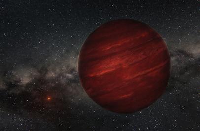 ilustração do planeta GU Psc b e da sua estrela GU Psc