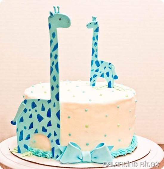 Giraffe Baby Shower Cake vanilla cake with vanilla buttercream--Balancing Bites