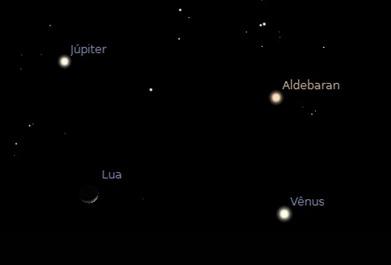 Lua-Júpiter-Vênus-Aldebaran