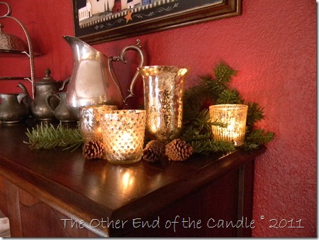 Mercury Glass Votives with Christmas Greens
