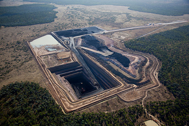 Aerial view of the Galilee Basin coal mine in Queensland, Australia. Photo: GVK Resources