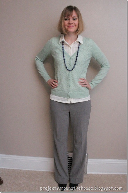 mint cardigan, navy necklace, gray pants