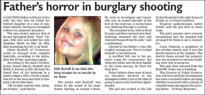Boshoff Edith 8 killed by stray bullet her father Glenn shot towards criminals attacking his Centurion home May 22 2012 SUNTRIBUNE