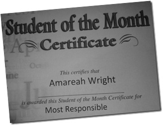 student of the month Amareah 2nd