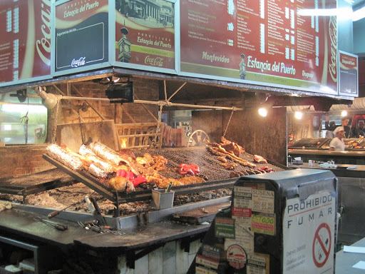 A huge assortment of meats on the wood-fired grill at Estancia del Puerto (as seen on Anthony Bourdain's show), Mercado del Puerto.