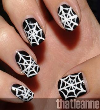 halloween spider nail art2