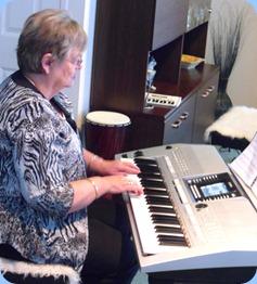 Barbara McNab having a second helping on the Yamaha PSR-910