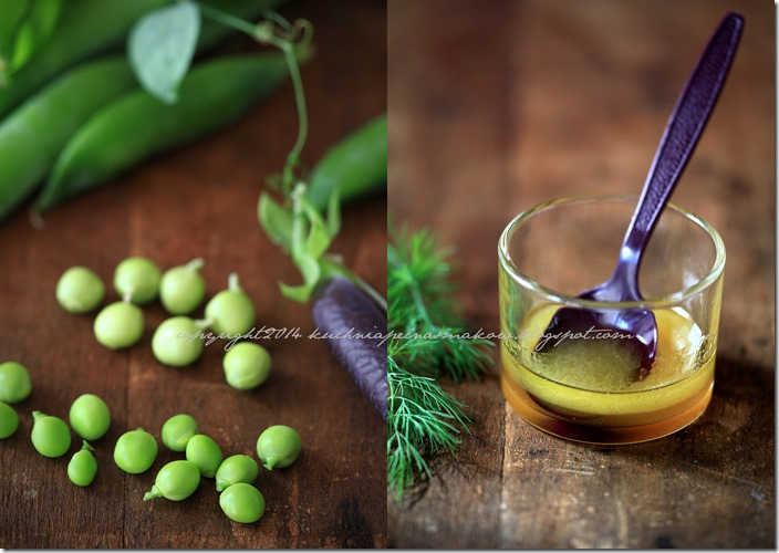 Fioletowy i zielony groszek, bób i quinoa z pomidorkami i kiszonym ogórkirm pod chmurka parmezanu