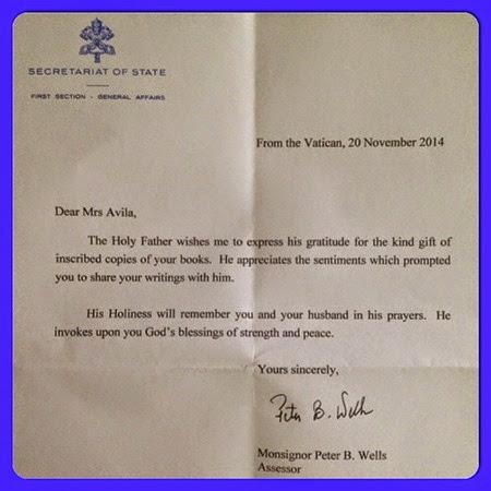 Rita Avila receives letter from Vatican