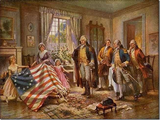 Betsy Ross & the flag with a group in a sitting room