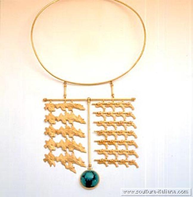 Valeriano Trubbiani - Tiro al volo (collana in oro e turchese, 1995)