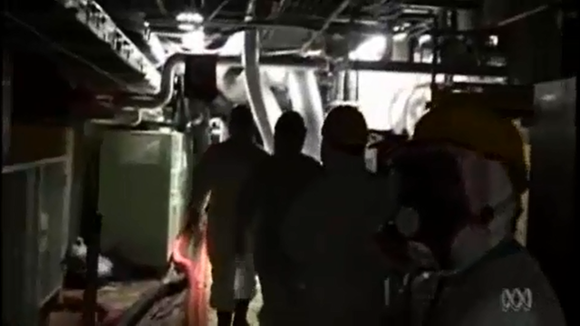 Workers enters the crippled Fukushima Daiichi nuclear plant. Workers have revealed that the plant has been leaking radioactive water into the Pacific ocean since the meltdowns in 2011. Photo: ABC